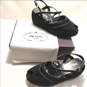 Authentic PRADA Black suede platform sandals, 39